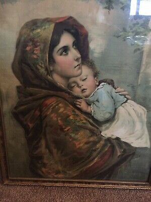 RARE 1800s Antique 'German Style' Chromolithograph  Of Oil Painting Turned Print