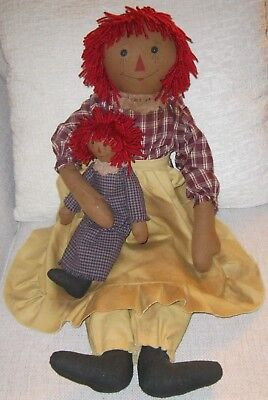Primitive Country Folk Art Tea Stained Raggedy Ann Doll with Her Dollie~1990's
