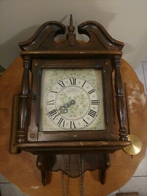 Vintage New England Clock Co. Wall Clock weighted movement chime Colonial Style