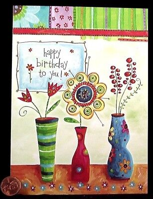 Vases Flowers Daisy Tulips Cute Colorful - Happy Birthday Greeting Card - NEW