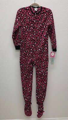 PINK Leopard Animal Large One Piece Footie Footed Big Girls Pajamas Lounge Zip