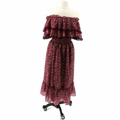 Misa Los Angeles Womens Dress Burgundy Floral Chiffon Off Shoulder Midi  S New