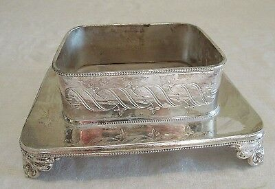 Vintage English Sheffield Silver Plate Oblong Footed COASTER Fattorini & Sons