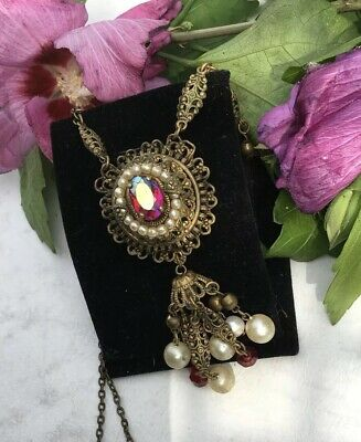 Vintage Art Deco Grand Bohemian Czech Gold Filigree Necklace Pendant Chain