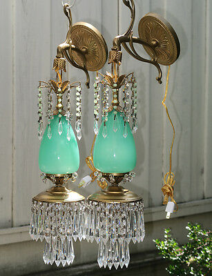 2 wal Sconce lamp Murano Jade Opaline Glass Bronze Brass crystal beaded Vintage