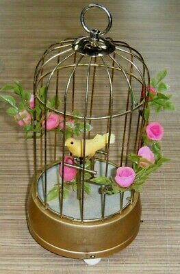 Vintage c1960's Japan Wind-Up Musical Canary Bird in Cage