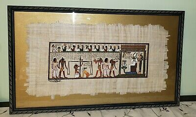 "Vintage Signed Framed Egyptian King Tut Hand Painted Scenes on Papyrus 26"" x 16"""