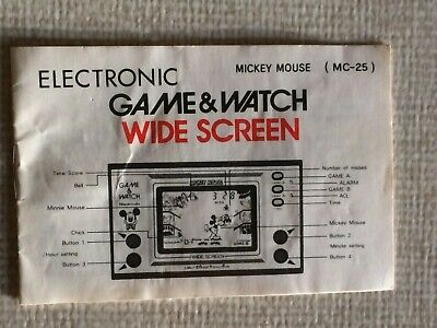Game & Watch manual , Mickey Mouse  (MC-25) , MANUAL ONLY!