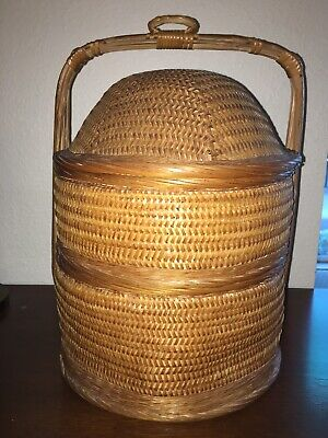 Chinese WEDDING BASKET Woven wicker 3 piece sectional rattan bamboo 21""
