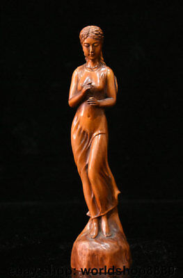 """7.6"""" Old Chinese Boxwood Wood Carved Dynasty Palace Beauty pretty girls Statue"""