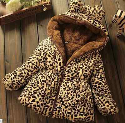 Baby Toddler girls winter Add wool leopard grain Hooded Coat Outerwear Jacket