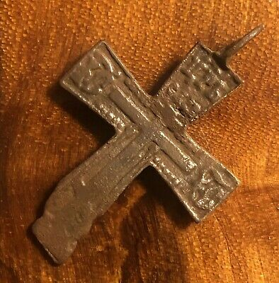 Byzantine Cross Artifact Late Medieval European Russian Orthodox Pendant Copper