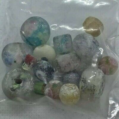 15 Late Byzantine Uncleaned Colored Glass Beads Medieval Artifacts Old Antique