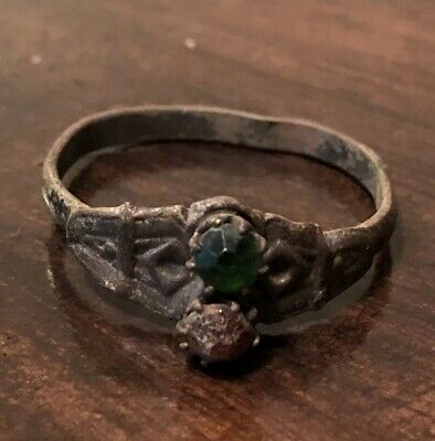 Late/Post Medieval Ring - 2 Set Colored Stones -Authentic European Artifact Old