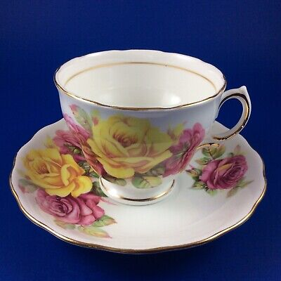 Royal Vale Pink And Yellow Cabbage Roses Bone China Tea Cup And Saucer