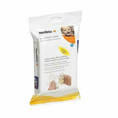 Medela Quick Clean Breast Pump and Accessory Wipes, 24 Count Resealable Pack, Co