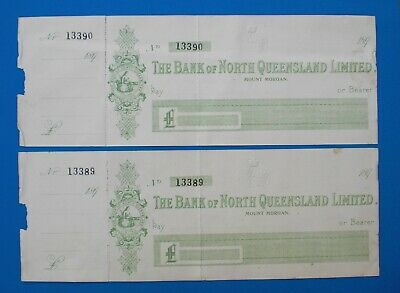 2 x 1890's BANK OF NORTH QUEENSLAND LIMITED MT MORGAN (GOLD MINING TOWN) CHEQUES