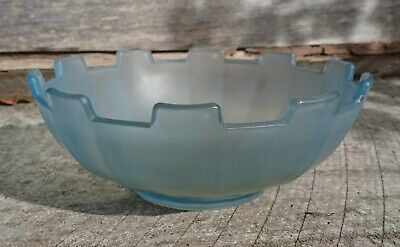 Frosted blue depression glass castle centrepiece bowl - Sowerby ?