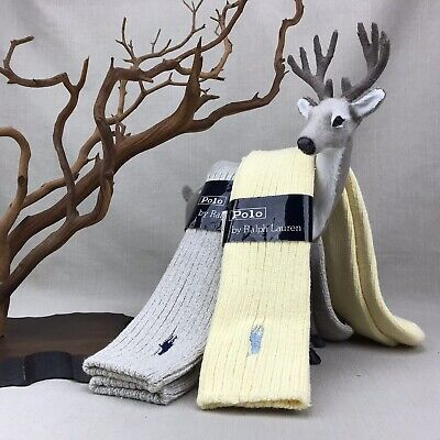 POLO Ralph Lauren Vintage Socks NOS Men's 10-13 Soft Yellow Oatmeal Heather