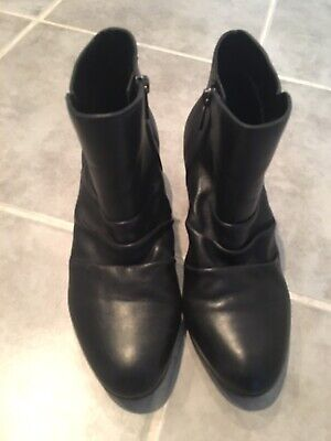 Hush Puppies Galla Womens Black Leather Ankle Boots size 37 Or Size 6
