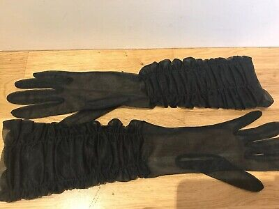 Gorgeous Original Vintage 1950s Ruched Sheer Long Black Evening Gloves Small VGC