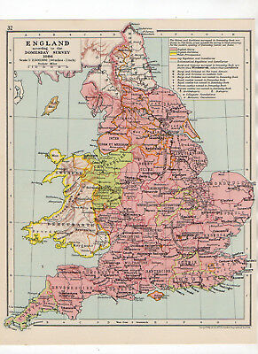 C1931 Antique Map Of England Domesday George Philip & Sons