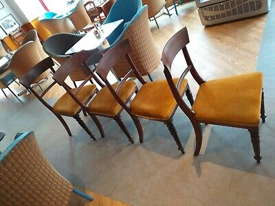 SET ENGLISH 4 mahogany bar back  VICTORIAN antique chairs upholstered SEATS