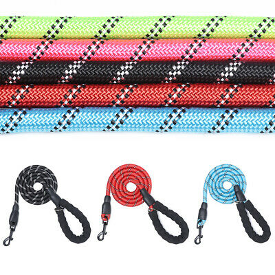 Durable Reflective  Nylon Fabric Collar Lead  Braided Rope Dogs Leash Pet Leads