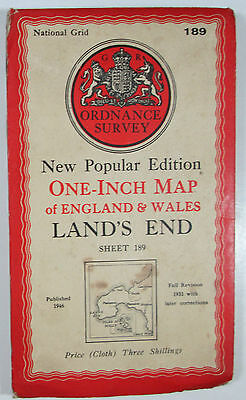 1947 OS Ordnance Survey one-inch New Popular Edition CLOTH map 189 Land's End