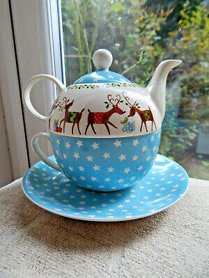 Whittard of Chelsea Xmas Tea for One Set Teapot, Cup & Saucer Reindeer Christmas