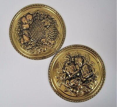 Vtg Brass Plate Wall Decor England Embossed Rose Fruit Pineapple 8 inch Lot of 2