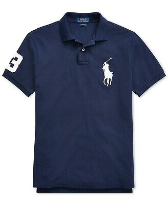 Polo Ralph Lauren Men's Big Pony Custom Slim Fit Mesh Polo Shirt (S-M-L-XL)