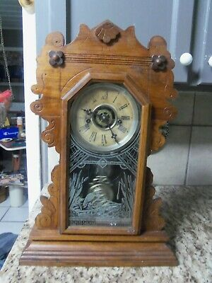 Working Waterbury Gingerbread Mantle Clock With Kitchen Alarm No Key