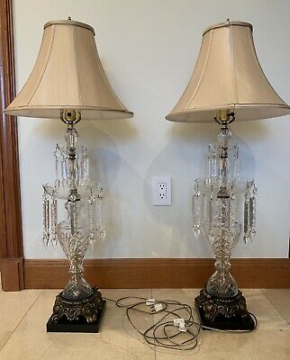 "Vintage Pair of Two Victorian Style Crystal Prisms Lusters Table Lamps 38"" Tall"