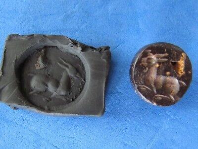 SCARCE ANCIENT RARE Glass SEAL PENDANT with GOAT