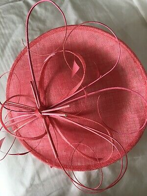 Coral Pink Sinamay & Feathers Fascinator - Hat Occasion Wedding Races