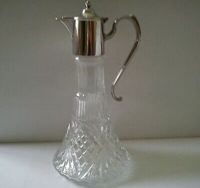 Vintage Glass Decanter with Silver Plate Fittings Made In England
