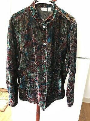 Chico's Multi-Colored Floral Abstract Silk Blend Velveteen Jacket Size 3 EUC