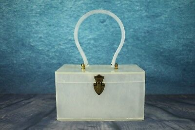 Vintage 1950 Wilardy Pearly White Glossy Lucite Large Box Bag Hoop Handle