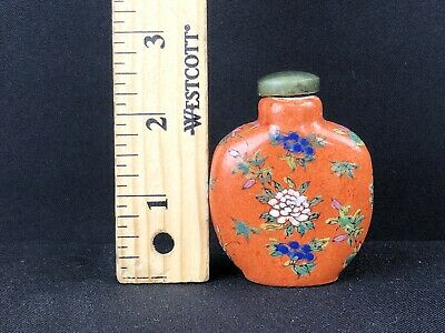 Antique Chinese Porcelain Snuff Bottle With Enamled  Flowers Very Beautiful