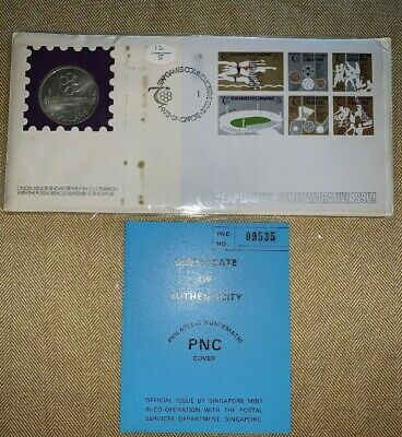 Rare Singapore Silver 5 $,1973, 7th SEAP games, First Day Cover, No 09535