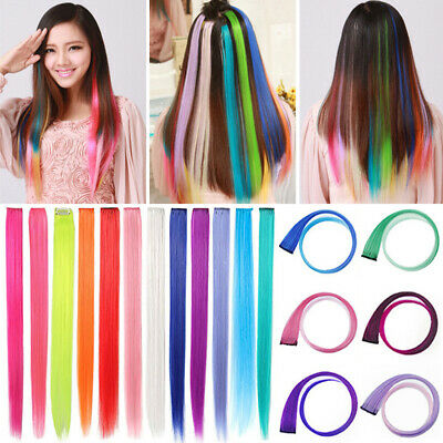 2X Women Clip In On Colorful Hair Piece Straight Hair Extension Synthetic Hair