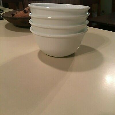 """4 Corelle Vitrelle Winter White Frost Cereal Soup Bowls 4 7/8"""" Gently Used"""