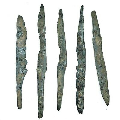 5 Authentic Ancient Roman Or Medieval European Iron Knife Blades Artifacts Old