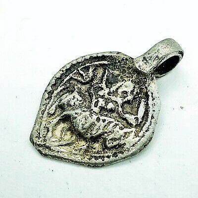 Late Or Post Medieval Aged Silvered Pedant W/ Man On Horse Artifact Old Charm A+
