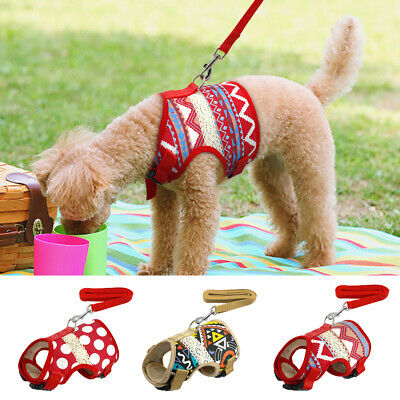 Soft Printed Dog Harness and Leash Pet Puppy Cat Vest Jacket For Small Medium
