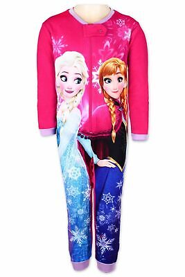 Girls Disney Frozen Kids All in One Girls Fleece  Character  Pyjamas Sleepsuit