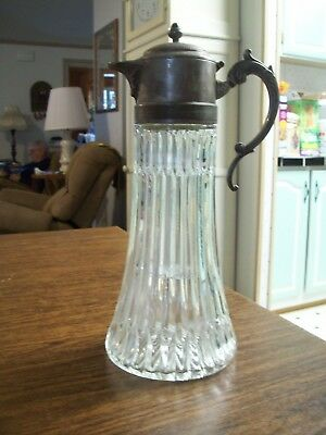 """Vintage Silver Plate & Cut Glass Wine Pitcher Decanter Jug w/ Ice Insert 14"""" VGC"""