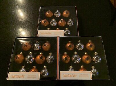 Candy Corn Lane HALLOWEEN Glass Spider Ornaments •Lot Of 3 *BRAND NEW*