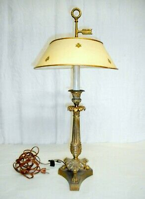 Antique French Empire Candlestick Lamp with Insect Decorated Tole Shade